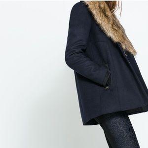 Zara Navy Wool Coat with Faux Fur Collar